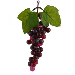 Fruta Artificial Uva Burgandy Frosted Vinho 25cm